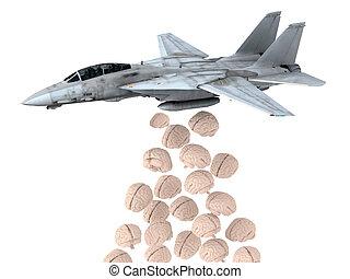 warplane launching human brain instead of bombs