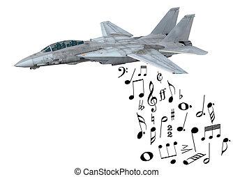 warplane launching musical notes