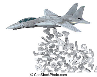 warplane launching numbers instead of bombs