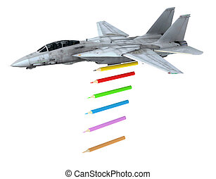 warplane launching pencils instead of bombs