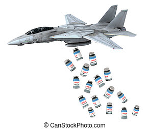 warplane launching vaccine bottles instead of bombs