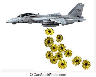 warplane launching yellow flowers
