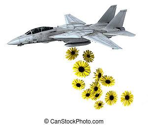 warplane launching yellow flowers instead of bombs