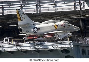 Warplane on a sea carrier