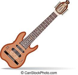 warr, ギター, ベクトル, イラスト, 中に, 平ら, スタイル