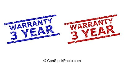 Blue and red WARRANTY 3 YEAR stamps on a white background. Flat vector scratched seal stamps with WARRANTY 3 YEAR title inside 2 parallel lines. Imprints with scratched surface.