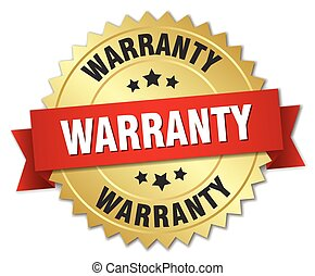 warranty 3d gold badge with red ribbon