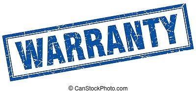 warranty blue square grunge stamp on white