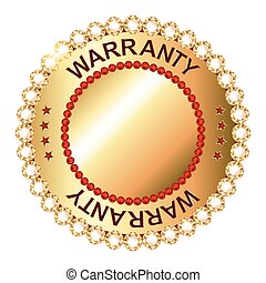 Warranty golden label with ribbon.