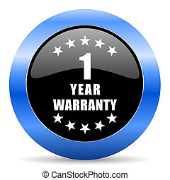 Warranty guarantee 1 year black and blue web design round internet icon with shadow on white background.