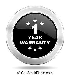 warranty guarantee 1 year black icon, metallic design internet button, web and mobile app illustration