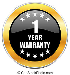 Warranty guarantee 1 year black web icon with golden border isolated on white background. Round glossy button.