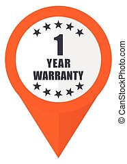 Warranty guarantee 1 year orange pointer vector icon in eps 10 isolated on white background.