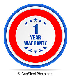 Warranty guarantee 1 year round icon, red, blue and white french design illustration for web, internet and mobile applications