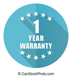 Warranty guarantee 1 year vector icon, flat design blue round web button isolated on white background