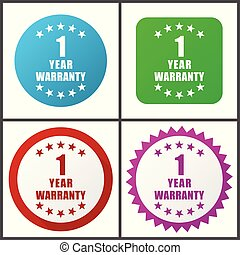 Warranty guarantee 1 year vector icon set. Flat design web icons in eps 10. Colorful internet buttons in four versions