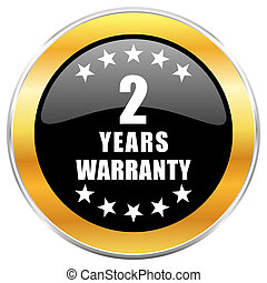 Warranty guarantee 2 year black web icon with golden border isolated on white background. Round glossy button.