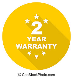 warranty guarantee 2 year flat design yellow web icon