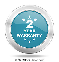 warranty guarantee 2 year icon, blue round glossy metallic button, web and mobile app design illustration