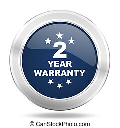 warranty guarantee 2 year icon, dark blue round metallic internet button, web and mobile app illustration
