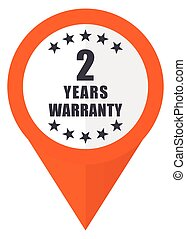 Warranty guarantee 2 year orange pointer vector icon in eps 10 isolated on white background.