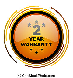 warranty guarantee 2 year round design orange glossy web icon