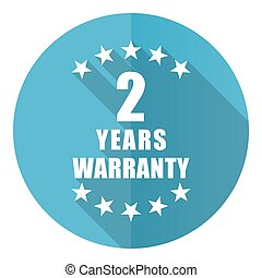 Warranty guarantee 2 year vector icon, flat design blue round web button isolated on white background
