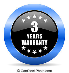 Warranty guarantee 3 year black and blue web design round internet icon with shadow on white background.