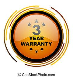 warranty guarantee 3 year round design orange glossy web icon