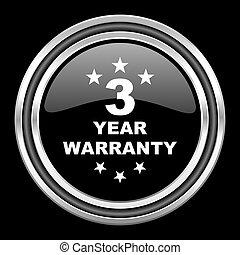warranty guarantee 3 year silver chrome metallic round web icon on black background