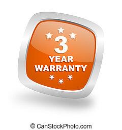 warranty guarantee 3 year square orange glossy chrome silver metallic web icon