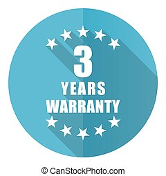 Warranty guarantee 3 year vector icon, flat design blue round web button isolated on white background