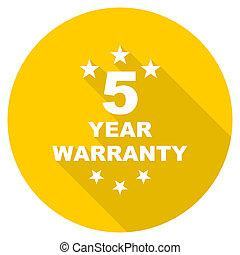 warranty guarantee 5 year flat design yellow web icon