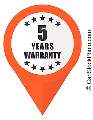 Warranty guarantee 5 year orange pointer vector icon in eps 10 isolated on white background.