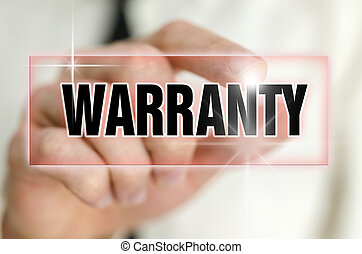 Warranty - Pressing warranty button on virtual screen.