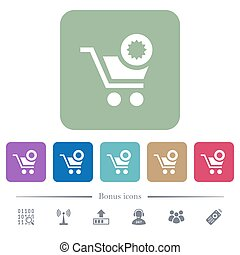 Warranty product purchase flat icons on color rounded square backgrounds
