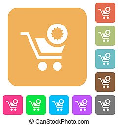 Warranty product purchase rounded square flat icons