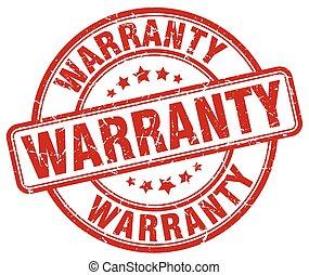 warranty red grunge round vintage rubber stamp