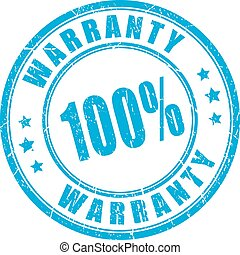 Warranty rubber vector stamp - 100 warranty rubber round...