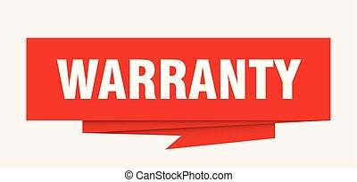 warranty sign. warranty paper origami speech bubble....