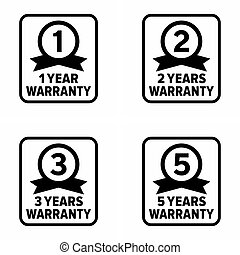 """""""Warranty years"""" product quality and service guarantee, information sign"""