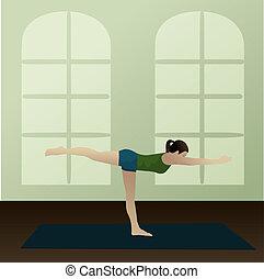 Warrior 3 Pose, Virabhadrasana 3 - Young woman practicing...