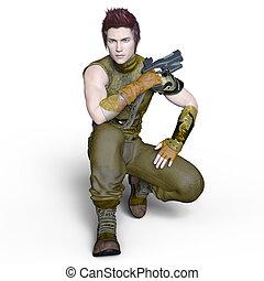 Warrior - 3D CG rendering of a warrior