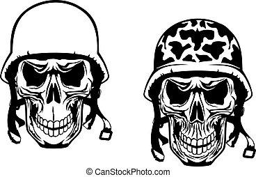 Warrior and pilot skulls in military helmets
