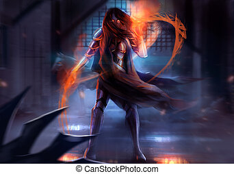 Warrior armored woman - Fantasy warrior woman attack with...