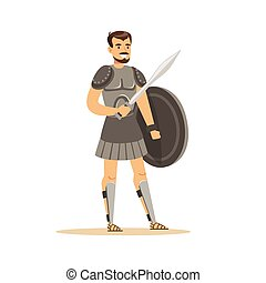 Warrior character, man in historical armor with sword and shield vector Illustration