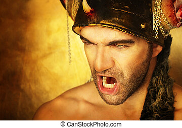 Warrior cry - Sexy powerful warrior screaming against golden...