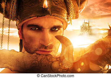 Warrior face - Portrait of a seexy strong warrior holding ...
