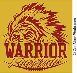 warrior football team design with mascot and laces for...