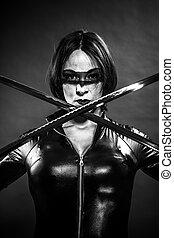 Warrior, Girl with katana sword. dressed in black latex, comic s